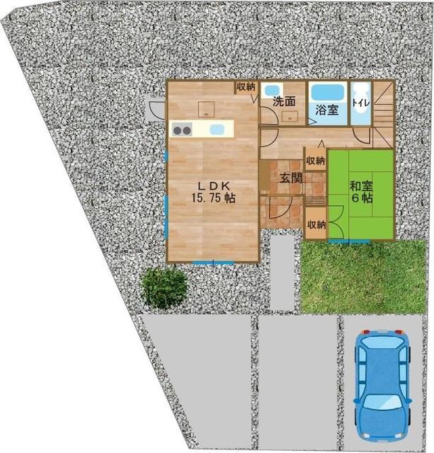 駐車場3台可能、外構付きです。図は完成イメージです。
